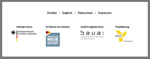 Die psyGA-Partner-Logos sind vom Bundesministerium für Arbeit und Soziales, von der Initiative Neue Qualität der Arbeit, von der Bundesanstalt für Arbeitsschutz und Arbeitsmedizin sowie vom BKK Dachverband e.V.