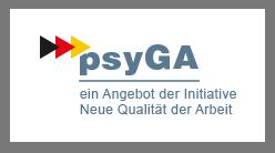 """Das Logo besteht aus dem Wort """"psyGA"""" und dem Schriftzug """"ein Angebot der Initiative Neue Qualität in der Arbeit."""""""