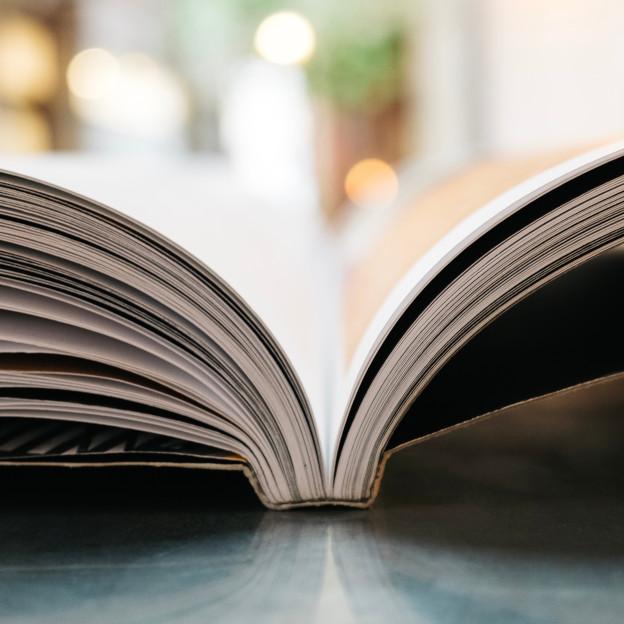 Ein aufgeschlagenes Buch liegt auf einem Tisch.