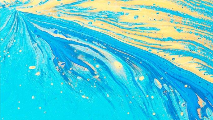 Schmuckbild: Aquarell Blau-Gelb.