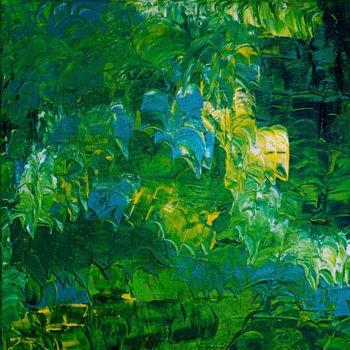 Aquarellbild in grün-gelb Tönen