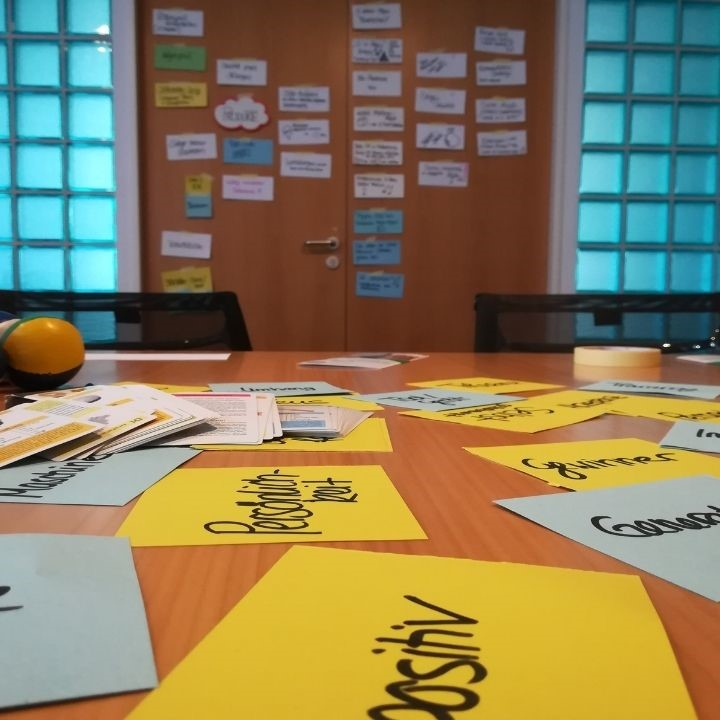 Klassenraum einer Berufsschule mit Arbeitsmaterial zum gemeinsamen Arbeiten im Team